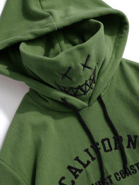 ladies ZAFUL Letter Graphic Embroidered Fleece Mask Hoodie - DEEP GREEN XS Mobile