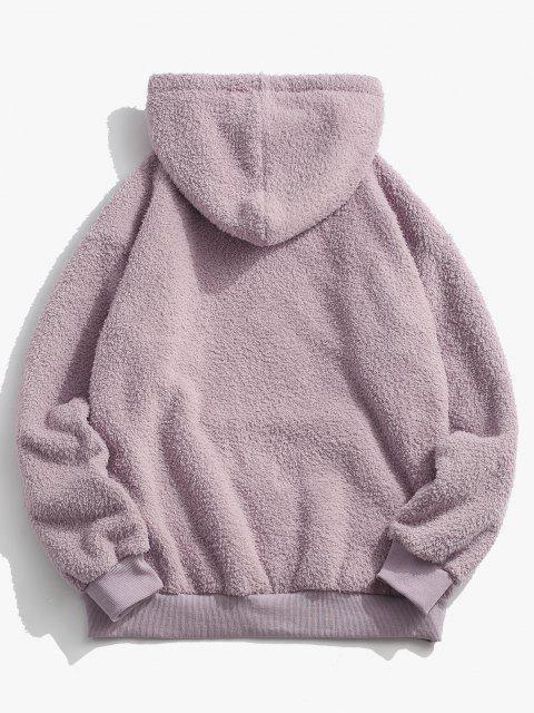 lady Kangaroo Pocket Applique Detail Teddy Hoodie - LIGHT PURPLE L Mobile