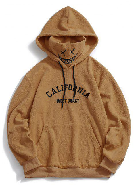 outfit ZAFUL Letter Graphic Embroidered Fleece Mask Hoodie - COFFEE S Mobile