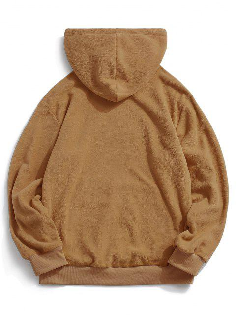 shops ZAFUL Letter Graphic Embroidered Fleece Mask Hoodie - COFFEE XS Mobile