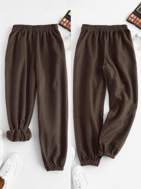 Vlies Gefütterte Tasche Beam Füße Hoch Taillierte Hose - Tiefkaffee S Mobile