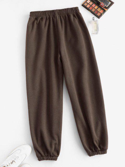 Vlies Gefütterte Tasche Beam Füße Hoch Taillierte Hose - Tiefkaffee M Mobile