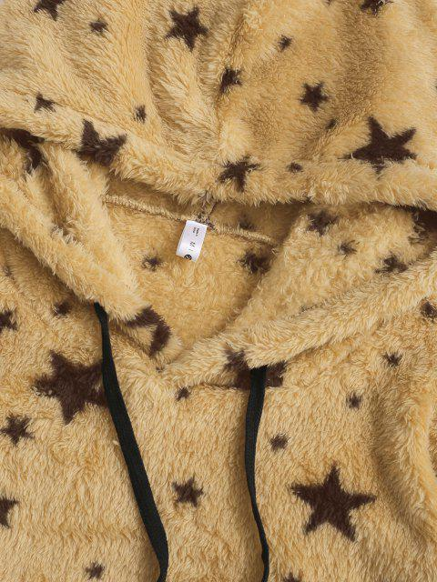 trendy Drawstring Front Pocket Fluffy Star Hoodie - YELLOW XL Mobile