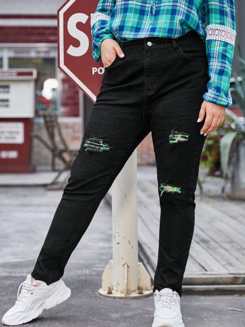 Contraste rasgado alto cintura plus tamaño pantalones vaqueros cónicos - Negro 5X Mobile
