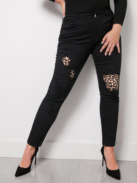 Leopard Panel Ripped Plus Size Skinny Jeans - أسود 3XL Mobile
