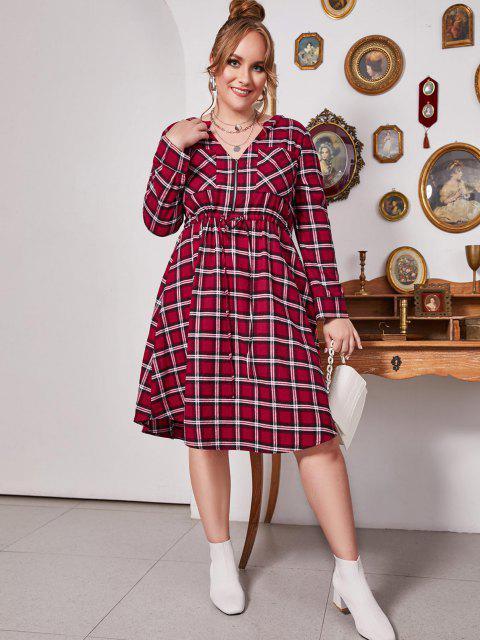 lady Plus Size Plaid V Notch Drawstring Roll Up Sleeve Dress - LAVA RED L Mobile