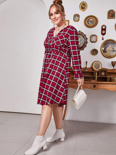 new Plus Size Plaid V Notch Drawstring Roll Up Sleeve Dress - LAVA RED 3X Mobile