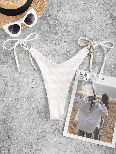 ZAFUL Bikiniunterteil mit Gerippten Bindebändern - Weiß M Mobile