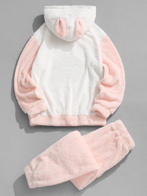 womens Animal Ear Letter Applique Faux Fur Fluffy Hoodie and Pants Set - LIGHT PINK 2XL Mobile