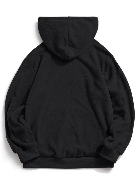 ladies ZAFUL Letter Graphic Embroidered Fleece Mask Hoodie - BLACK XL Mobile