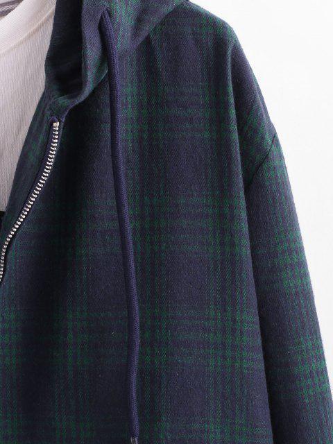 Veste à Capuche Cousue à Carreaux avec Poche - Bleu profond S Mobile