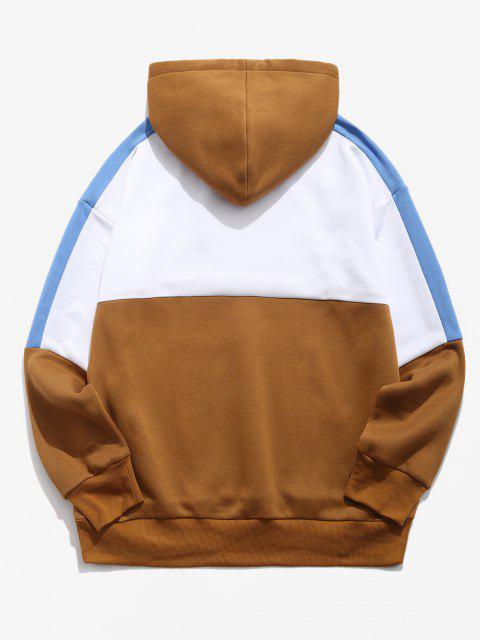 women Colorblock Panel Drop Shoulder Fleece-lined Hoodie - WHITE 2XL Mobile
