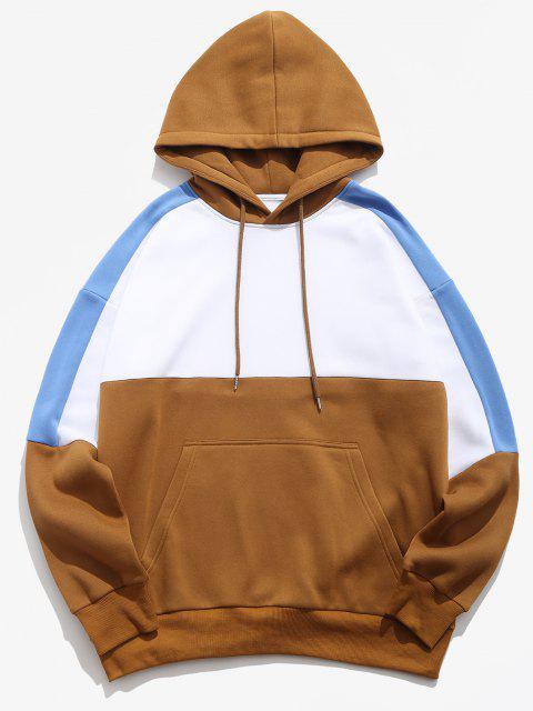 sale Colorblock Panel Drop Shoulder Fleece-lined Hoodie - WHITE S Mobile