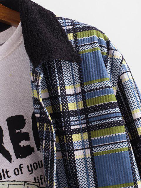 Veste Boutonnée Motif à Carreaux à Col en Fausse Fourrure - Bleu S Mobile