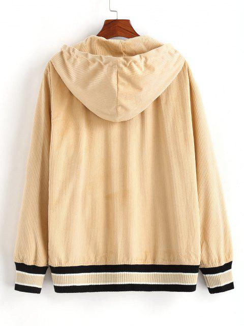 unique Snap Button Striped Hem Hooded Jacket - LIGHT COFFEE 2XL Mobile