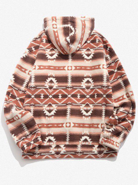 affordable Tribal Geo Pattern Quarter Zip Fleece Hoodie - MULTI XL Mobile