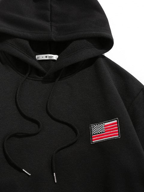 women ZAFUL American Flag Badge Patch Fleece Lined Hoodie - BLACK L Mobile