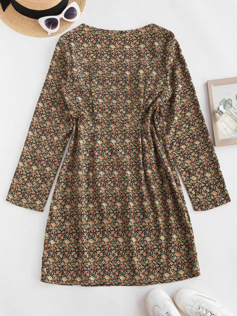 outfits ZAFUL Floral Ruched Detail Long Sleeve Dress - MULTI M Mobile