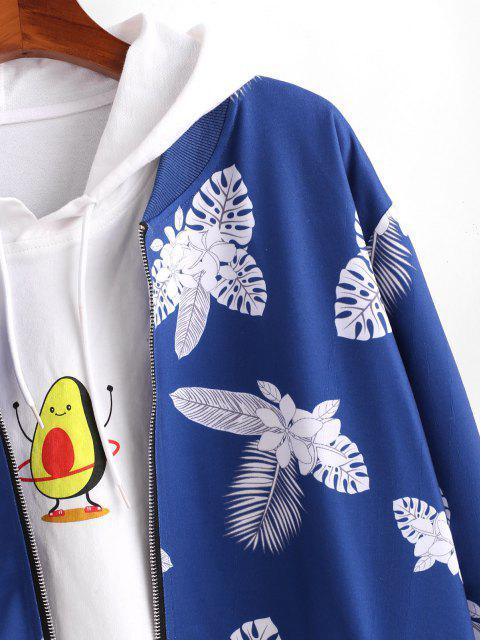 Veste Zippée Fleur Imprimée Feuille Tropicale - Bleu XL Mobile