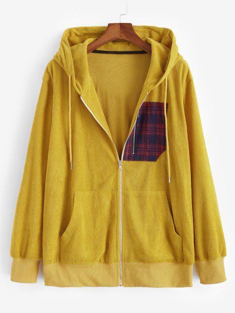 shop Plaid Zipper Patch Corduroy Hooded Jacket - YELLOW L Mobile