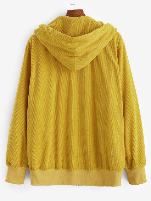 affordable Plaid Zipper Patch Corduroy Hooded Jacket - YELLOW M Mobile