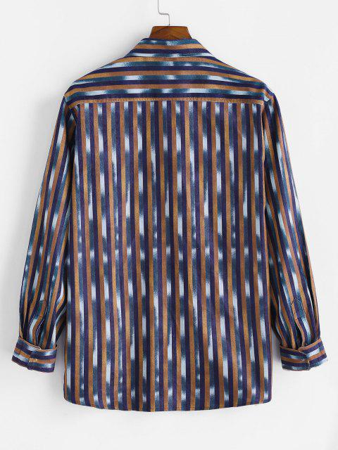chic Striped Pattern Pocket Button Up Long Sleeve Shirt - MULTI S Mobile