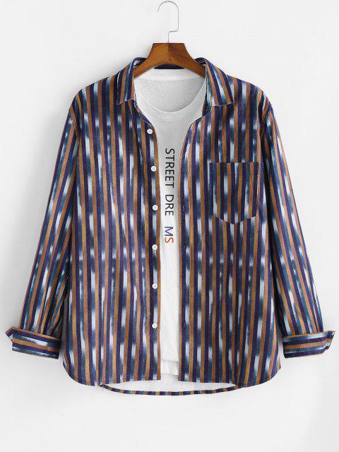 Gestreiftes Muster Tasche Knopf Langarm Hemd - Multi L Mobile