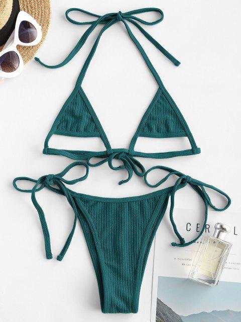 hot ZAFUL Ribbed Halter Cutout Tie Side String Bikini Swimwear - DEEP GREEN S Mobile