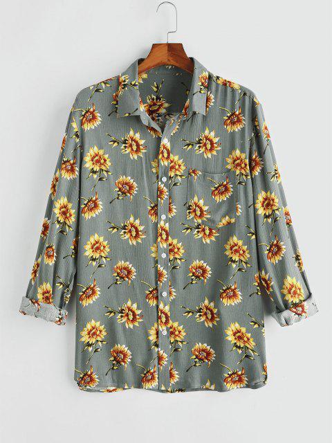 womens Flower Chest Pocket Long Sleeve Shirt - GRAY XL Mobile