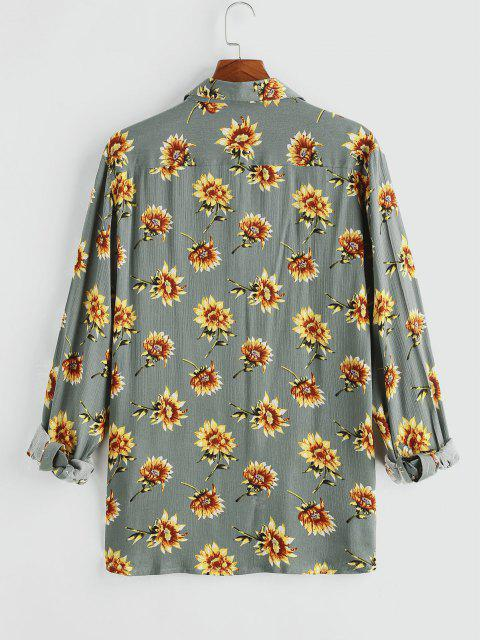 affordable Flower Chest Pocket Long Sleeve Shirt - GRAY 2XL Mobile