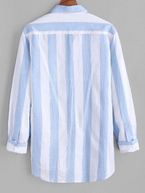best Colorblock Striped Long Sleeve Pocket Button Up Shirt - LIGHT BLUE L Mobile
