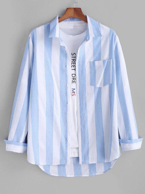 women Colorblock Striped Long Sleeve Pocket Button Up Shirt - LIGHT BLUE 2XL Mobile