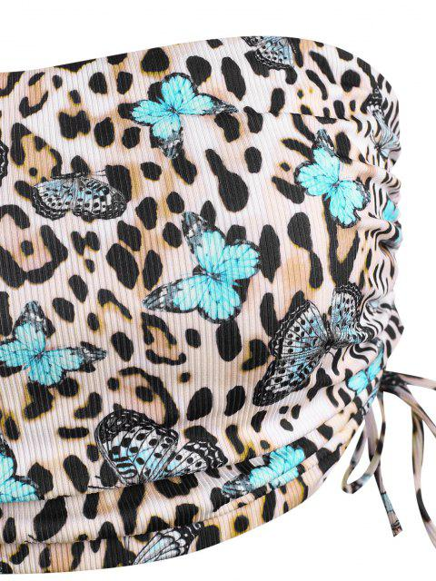 lady ZAFUL Plus Size Ribbed Butterfly Leopard Print Cinched Tankini Swimwear - BLACK XXL Mobile