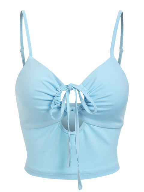 ZAFUL Cami Top Recortado de Nudo Delantero - Azul claro S Mobile