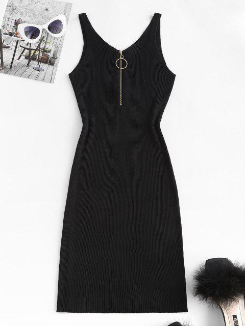 women Ribbed O Ring Zip V Neck Bodycon Dress - BLACK ONE SIZE Mobile