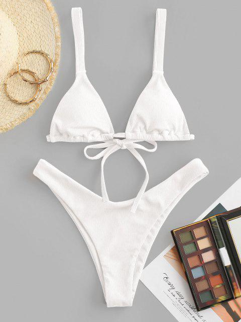 affordable ZAFUL Ribbed Brazilian High Cut Bikini Swimwear - WHITE S Mobile