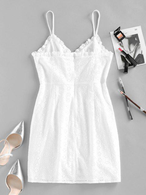 trendy ZAFUL Broderie Anglaise Cinched Tie Ruched Cami Dress - WHITE L Mobile