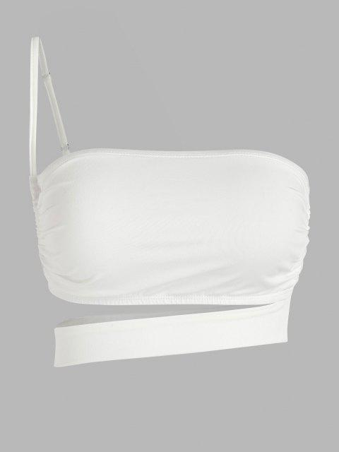 ZAFUL One Shoulder Cutout Crop Top - أبيض L Mobile