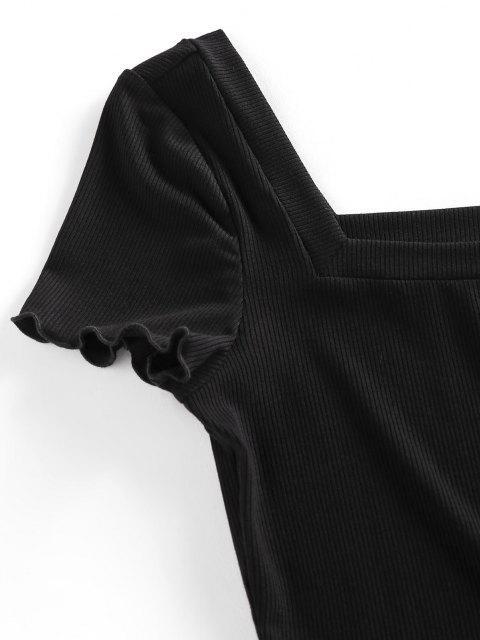 T-Shirt Corta a Costine con Colletto Quadrato di ZAFUL - Nero S Mobile