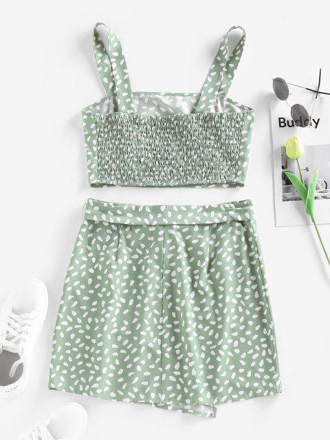trendy ZAFUL Speckled Smocked Belted Mini Overlap Skirt Set - LIGHT GREEN S Mobile