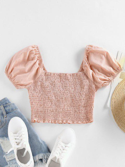 shop ZAFUL Smocked Puff Sleeve Ruffle Crop Blouse - LIGHT PINK L Mobile