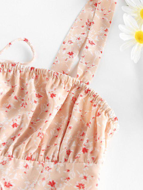 outfits ZAFUL Ditsy Print Ruched Bust Bowknot Corset Top - LIGHT PINK S Mobile