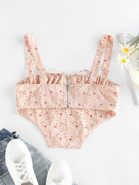 unique ZAFUL Ditsy Print Ruched Bust Bowknot Corset Top - LIGHT PINK L Mobile