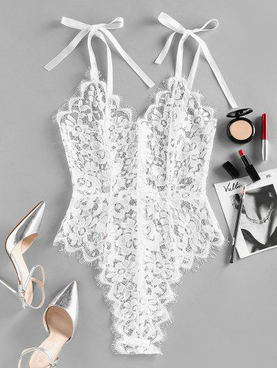 ZAFUL Lace Scalloped Tie Shoulder Lingerie Teddy - White S