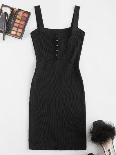 Ribbed Button Placket Bodycon Tank Dress - Black
