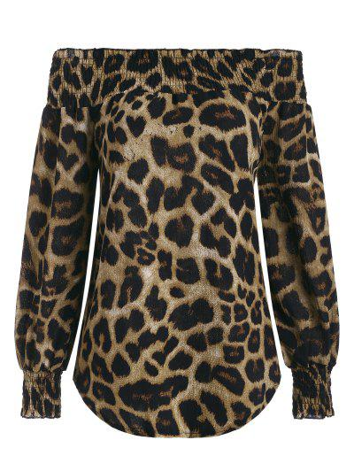 Leopard Off Shoulder Round Hem Smocked Blouse - Coffee L