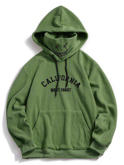 ZAFUL Letter Graphic Embroidered Fleece Mask Hoodie - Deep Green S