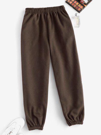 Fleece Lined Pocket Beam Feet High Rise Pants - Deep Coffee Xl