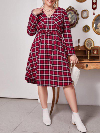 Plus Size Plaid V Notch Drawstring Roll Up Sleeve Dress - Lava Red 1x