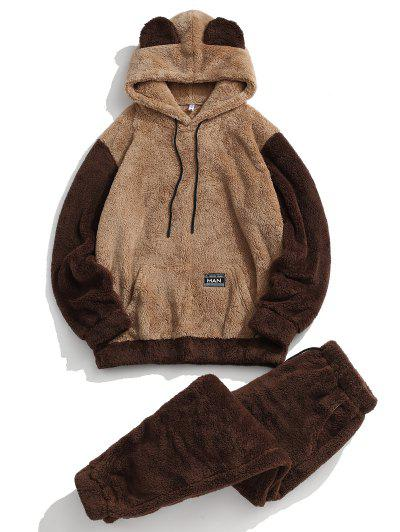 Animal Ear Letter Applique Faux Fur Fluffy Hoodie And Pants Set - Deep Coffee 2xl